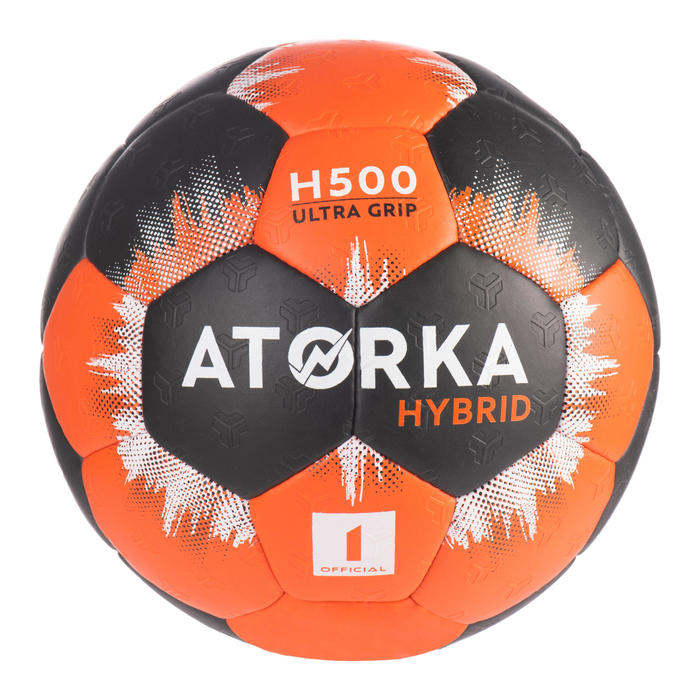 Ballon de handball enfant hybride T1 orange/noir