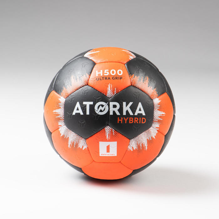 Handbal voor kinderen hybride maat 1 oranje/zwart