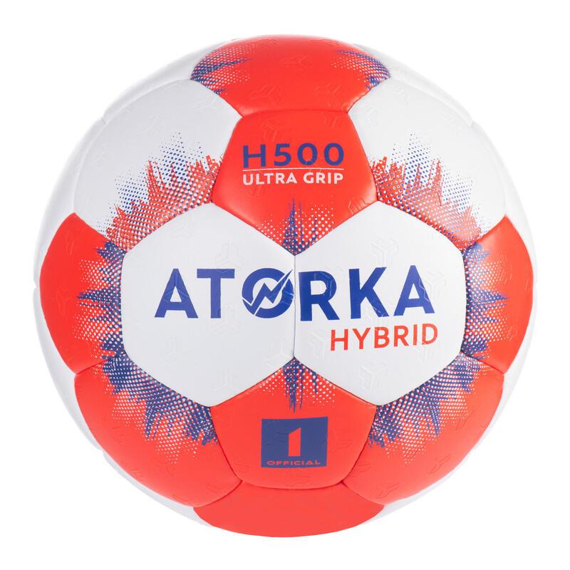 Kids' Size 1 Hybrid Handball Ball - Grey/Red