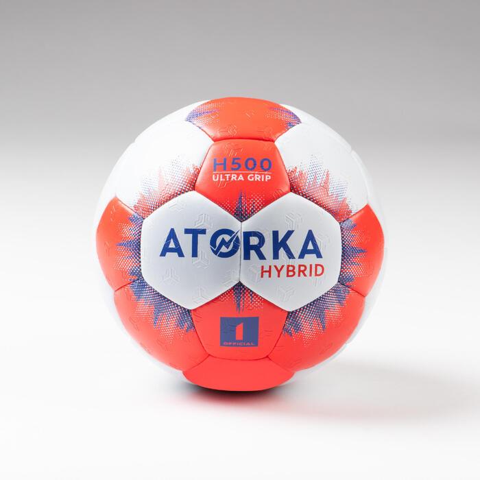 Ballon de handball enfant hybride T1 gris/rouge