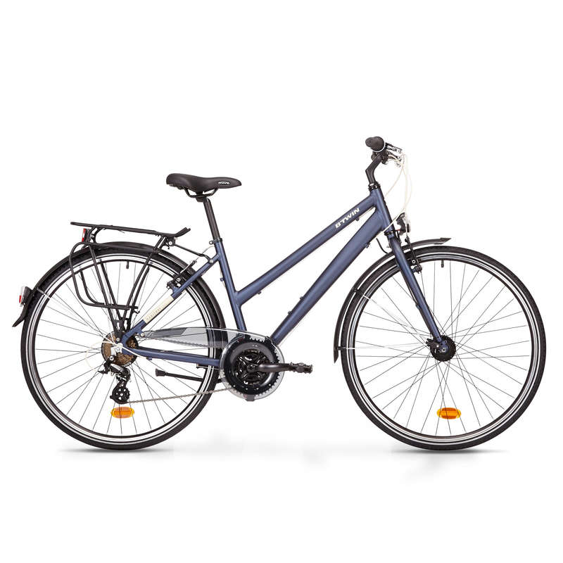LONG DISTANCE URBAN CYCLING Cycling - Hoprider 100 Urban Hybrid Bike - Low Frame ELOPS - Bikes