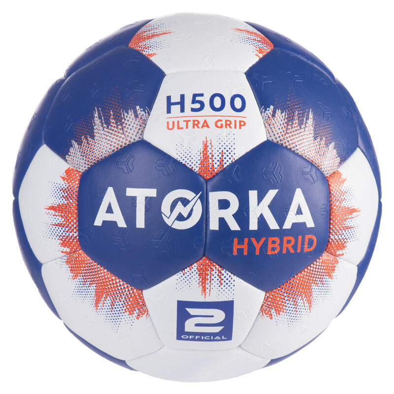 Kids' Size 2 Hybrid Handball Ball - Blue/Grey