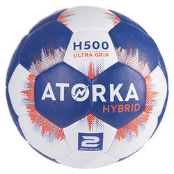 Ballon de handball enfant hybride T2 bleu/gris