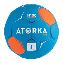 Ballon de handball H100 SOFT enfants T1 bleu/orange
