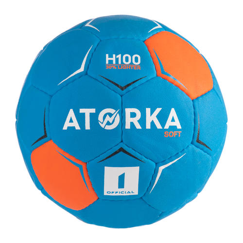 Ballon de handball H100 SOFT enfant T1 bleu/orange