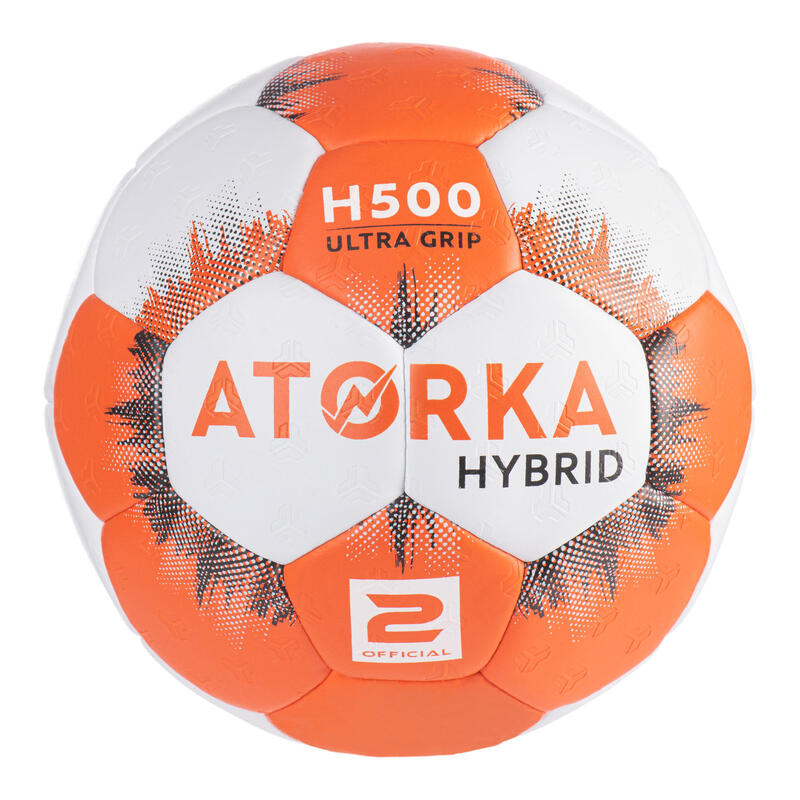 Kids' Size 2 Hybrid Handball Ball - Orange/Grey