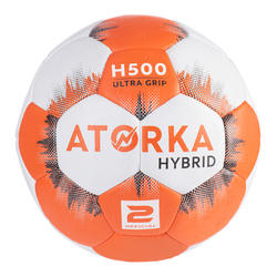 Ballon de handball enfant hybride T2 orange/gris