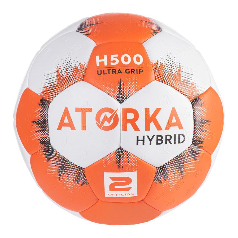 Ballon de handball enfant hybride T2 orange/gris