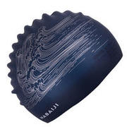 swim cap silicone unisize - Blue gray waves