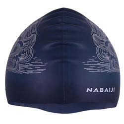 矽膠泳帽500 - 海浪印花淺灰色