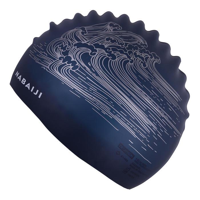 SWIMMING CAP SILICONE 500 PRINT - SEA LIGHT GREY