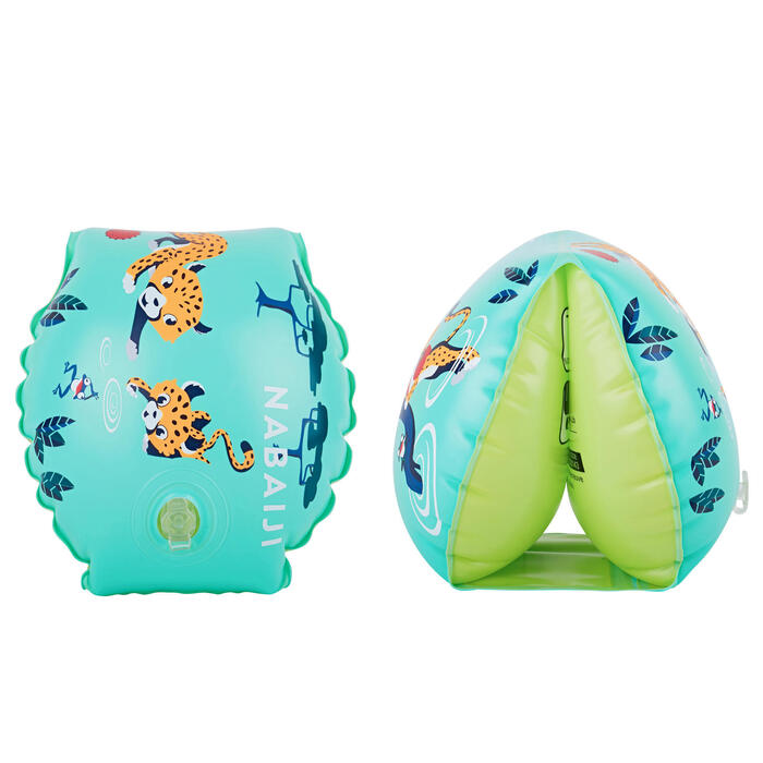 "Kids' Swimming Armbands 11-30 kg - Green ""Red Panda"" Print"