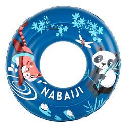 "Kids' Inflatable Swim Ring 6-9 Years 65 cm - Blue ""Panda"" Print"