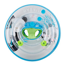 "Baby swim ring 7-15 kg blue, green transparent printed ""PANDAS"" with handles"