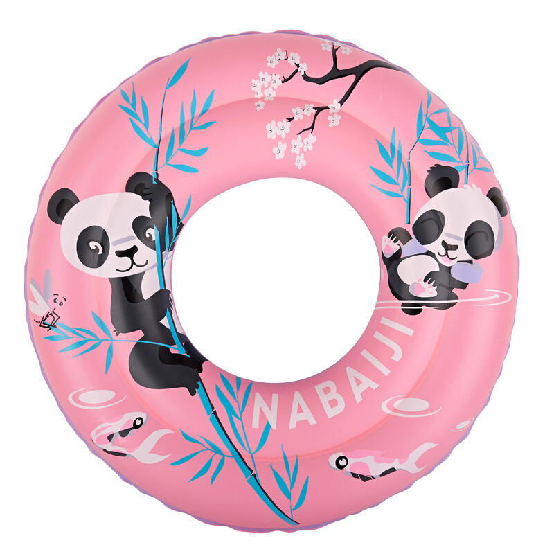 """Bouée piscine gonflable 51 cm rose imprimé """"PANDAS"""" pour enfant 3-6 ans"""