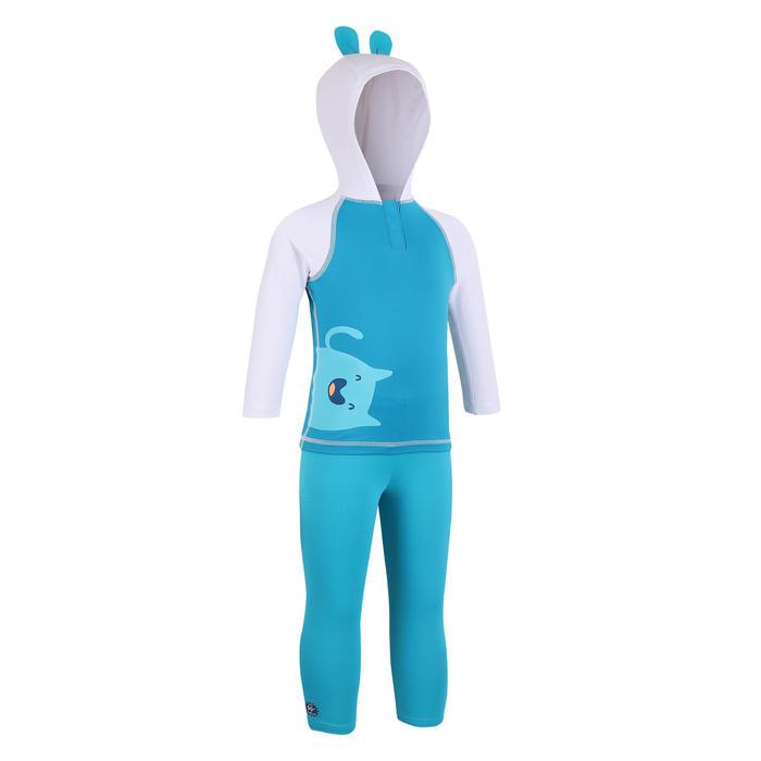 抗紫外線長版泳褲藍色