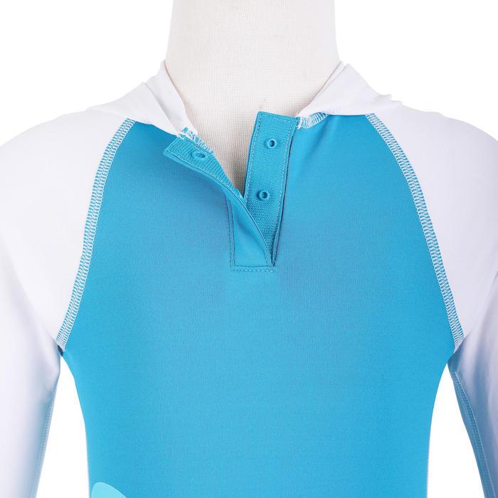 嬰幼兒抗紫外線長袖連帽T恤 - 白色和藍色印花