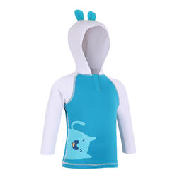 Baby UV Protection T-Shirt Long Sleeve with hood - White and Blue Print