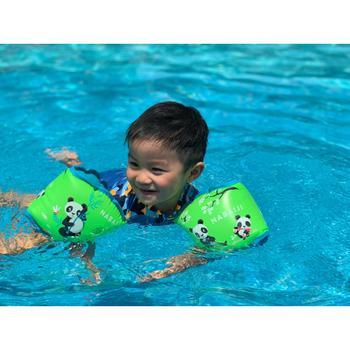 兒童用15至30 kg內層布料游泳臂圈-綠色「熊貓」圖案