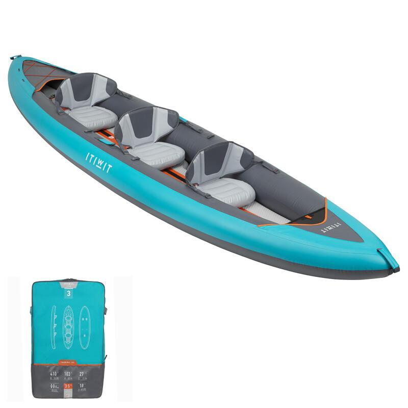 Kayak Canoa Travesía X100+ Drop Stitch Hinchable Alta Presión 3 Plazas Azul