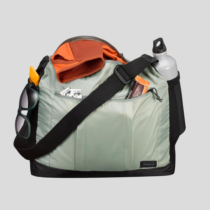 Bolsa Bandolera Montaña Trekking Viaje 15L compacta Forclaz TRAVEL100 Caqui