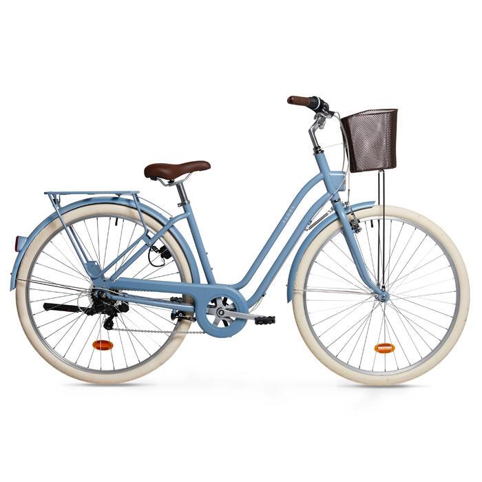 Stadsfiets dames Elops 520 laag frame blauw