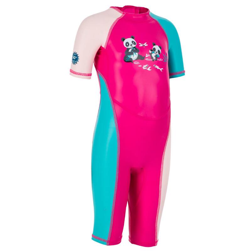 Traje Bañador Natación Anti-UV Bebé Rosa Estampado Panda