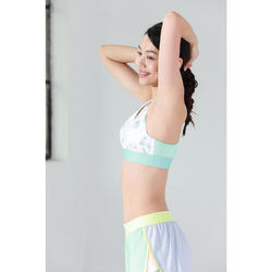 Women's Fitness Cardio Training Sports Bra 500 - White/Green