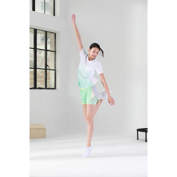 女款有氧訓練健身運動內衣500-白色/綠色