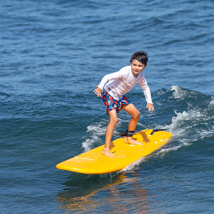 """PLANCHE DE SURF EN MOUSSE 100 6'8"""" livrée avec un leash et 3 ailerons ."""