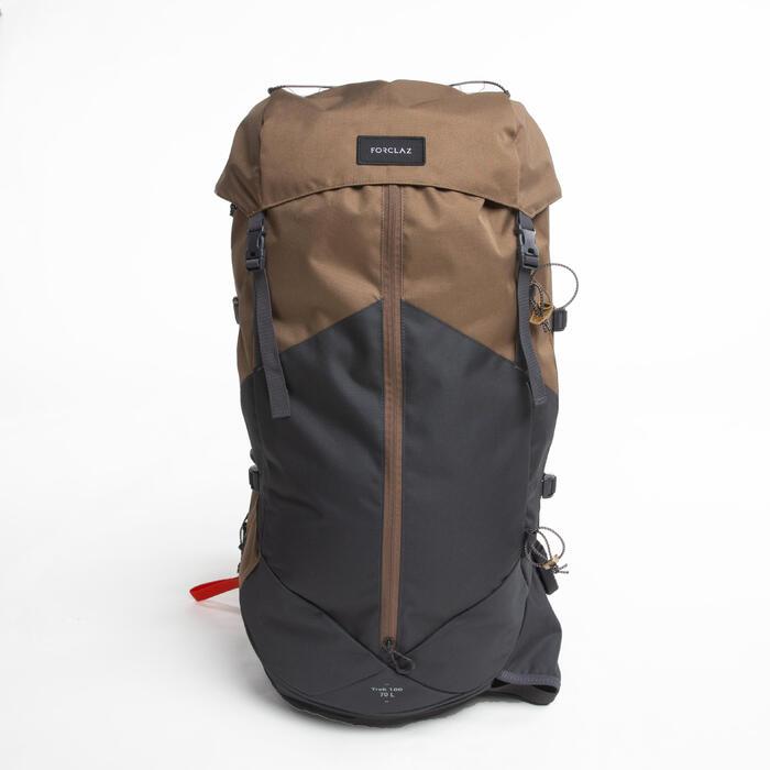 男款登山健行背包   TREK100 70L-米色