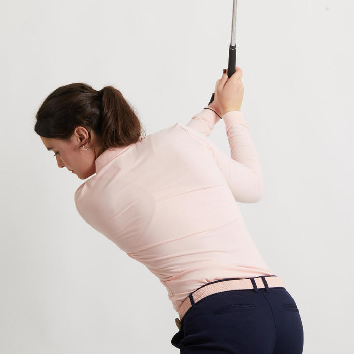 POLO MANCHES LONGUES GOLF ROSE PALE FEMME