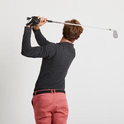 Golfpolo met lange mouwen voor heren gemêleerd zwart