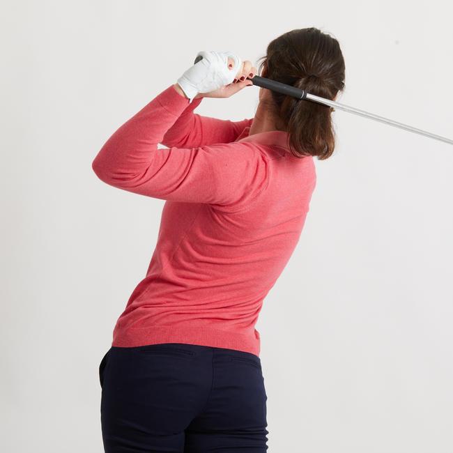 Women's Golf Pullover - Heather Strawberry Pink