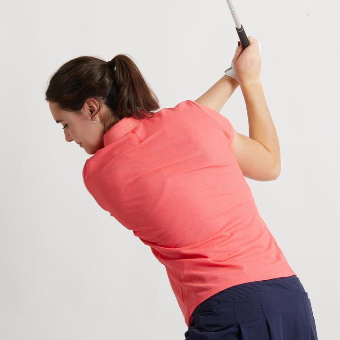 女款透氣高爾夫POLO衫-刷色草莓粉