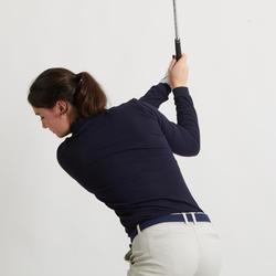 Golfpolo met lange mouwen voor dames marineblauw