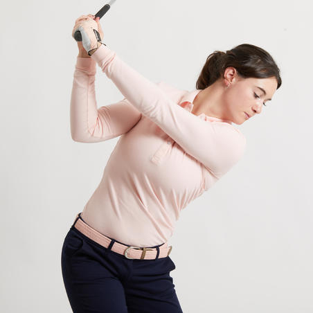 Women's golf long-sleeved polo shirt MW500 pale pink