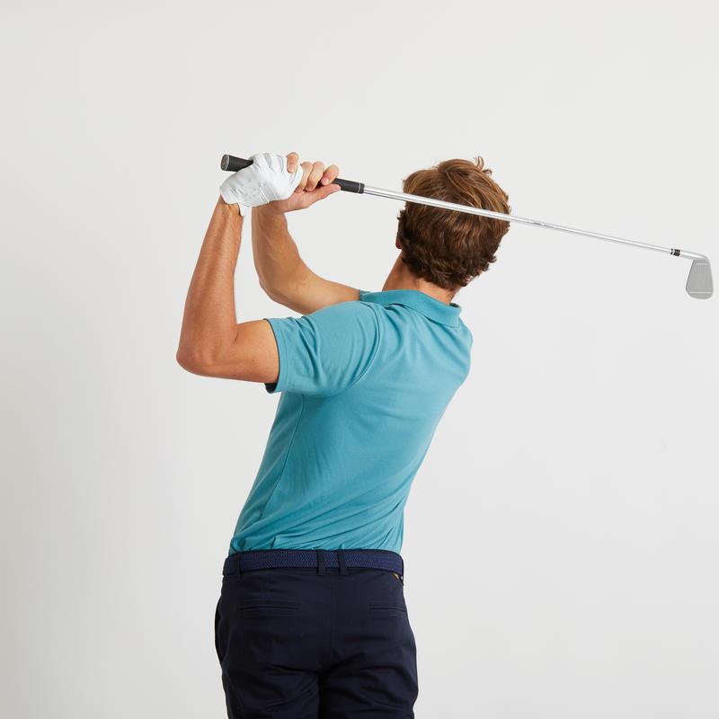 Men's golf short-sleeved polo shirt MW500 turquoise