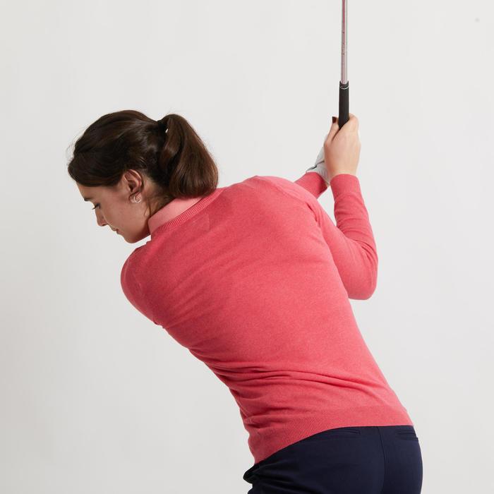Golftrui voor dames gemêleerd aardbeirood