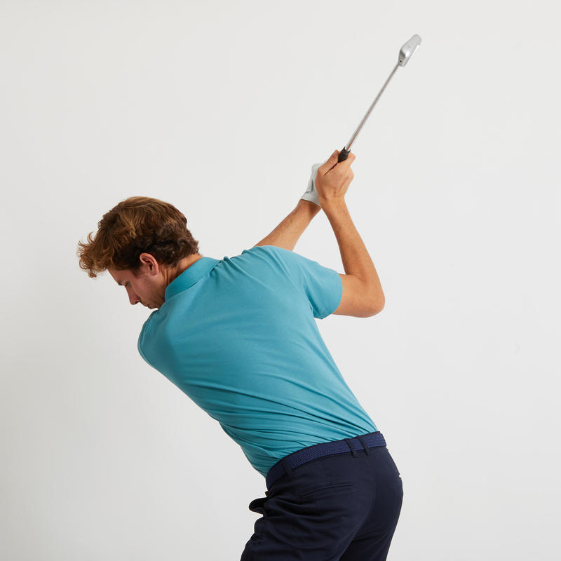 เสื้อโปโลแขนสั้นผู้ชายสำหรับใส่เล่นกอล์ฟ (สีฟ้า Turquoise)