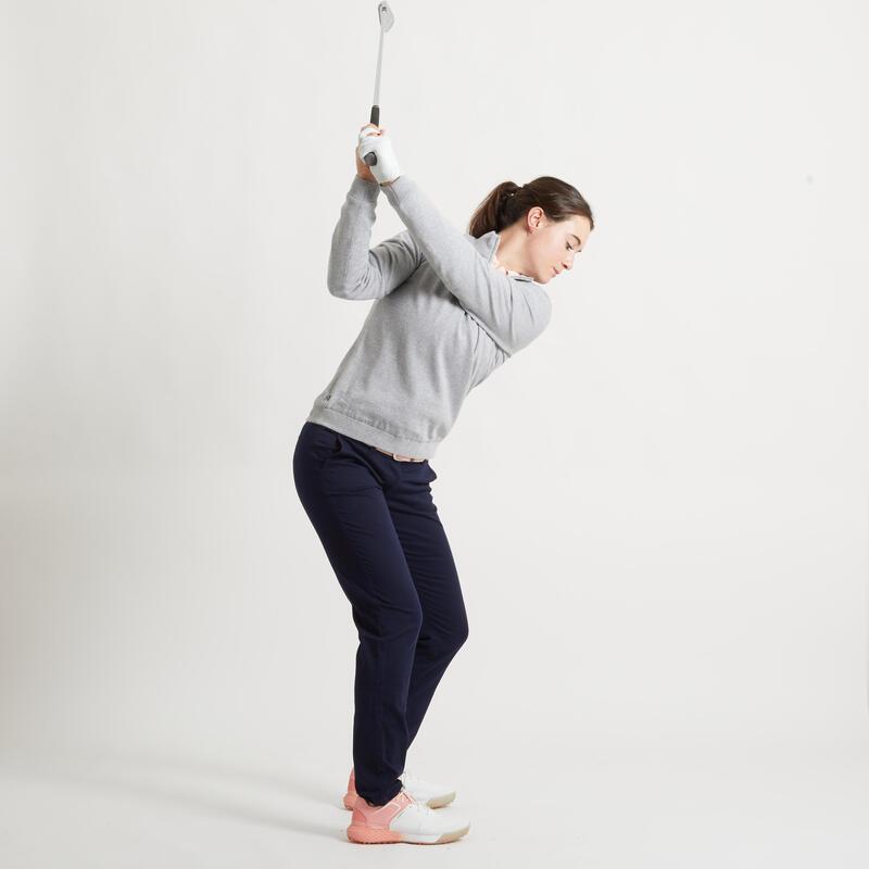 Women's golf windproof pullover MW500 grey