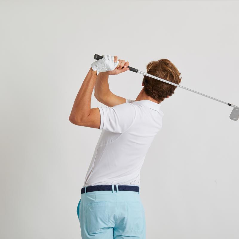 เสื้อโปโลน้ำหนักเบาสำหรับผู้ชายใส่เล่นกอล์ฟ (สีขาว)
