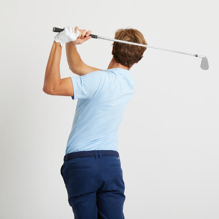 Men's golf short-sleeved polo shirt MW500 sky blue