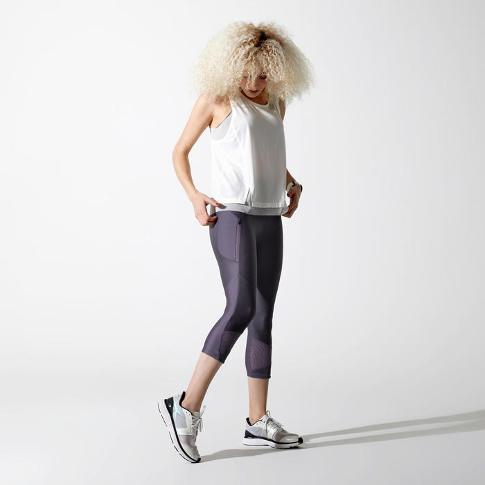 RUN DRY + FEEL WOMEN'S RUNNING CROPPED BOTTOMS - PURPLE