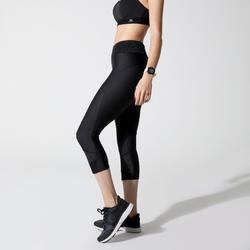RUN DRY + FEEL WOMEN'S RUNNING CROPPED BOTTOMS - BLACK