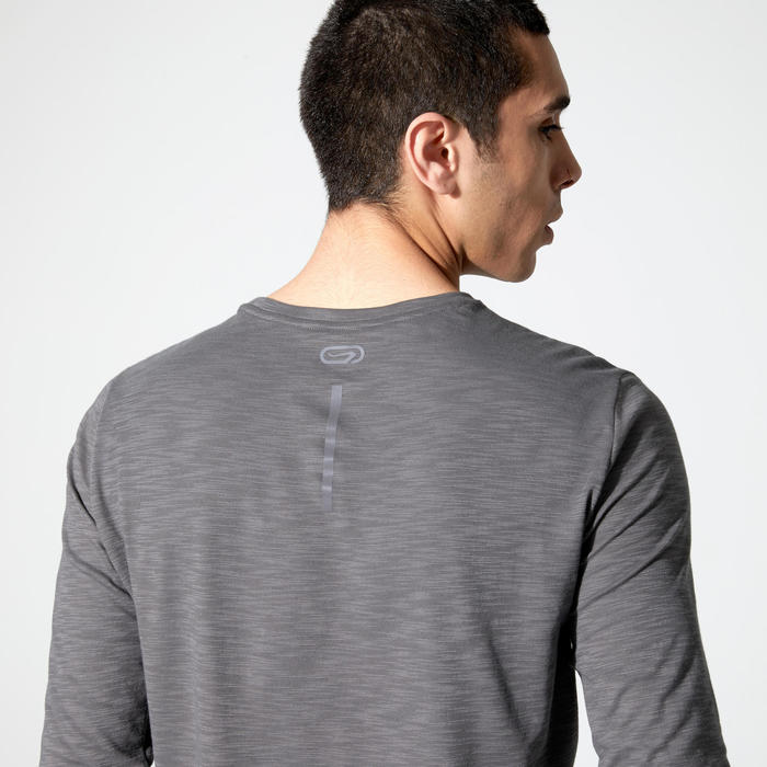 跑步長袖T恤RUN DRY+ - 灰色