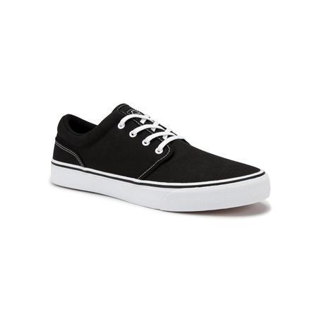Tenis de tobillo bajo patineta-longboard adulto VULCA 100 Negro Blanco