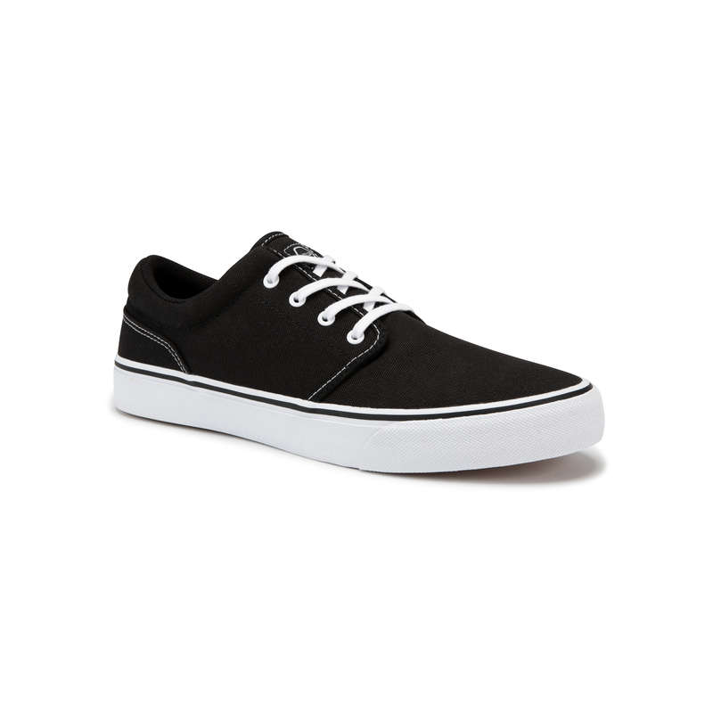 ADULT SKATEBOARD SHOES Skateboarding and Longboarding - Vulca 100 - Black/White OXELO - Skateboarding and Longboarding