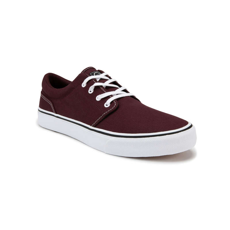 ADULT SKATEBOARD SHOES Skateboarding and Longboarding - Vulca 100 - Burgundy/White NW OXELO - Skateboarding and Longboarding