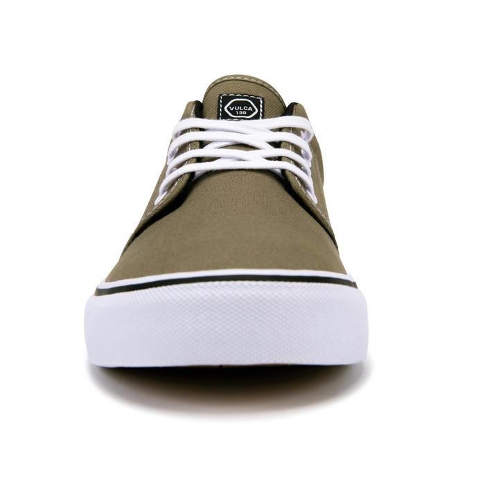 Chaussures basses skateboard-longboard adulte VULCA 100 kaki blanc